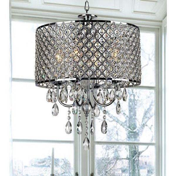 Add an elegant touch to your home with this 4-light round chandelier. This light fixture features glittering crystals. If you're looking to add some elegance to your home, you can check this chrome-finish four-light round chandelier. It comes with a long chain, and you can adjust it as you wish. You can use it for indoor settings, and this crystal chandelier will add some luxury to your dinner parties.