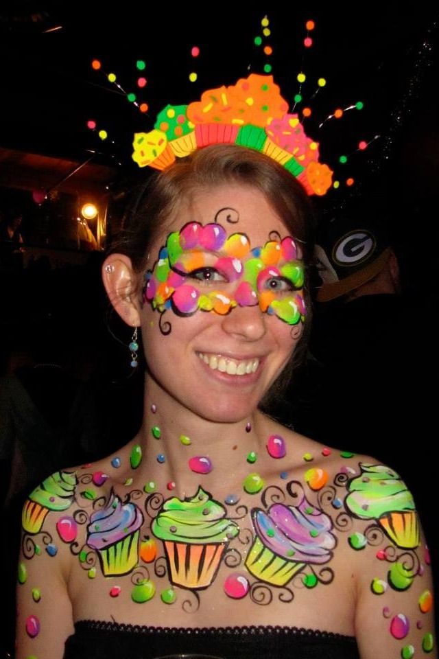 Blacklight cupcake body paint and headpiece Art of Christy Grace on Tumblr