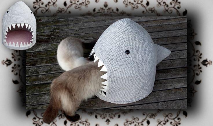 DIY  Hai Häkel Höhle für Katzen | crochet shark for cats