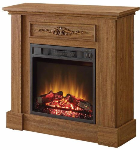 Fireplace Electric Heater Oak Tv Stand Free Standing Small