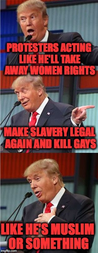 Bad Pun Trump | PROTESTERS ACTING LIKE HE'LL TAKE AWAY WOMEN RIGHTS MAKE SLAVERY LEGAL AGAIN AND KILL GAYS LIKE HE'S MUSLIM OR SOMETHING | image tagged in bad pun trump | made w/ Imgflip meme maker