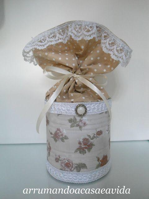 Cláudia Pinto: Transformar uma lata numa fofa embalagem para presente. PAP Tutorial DIY Craft Reuse Fabric Upcycling