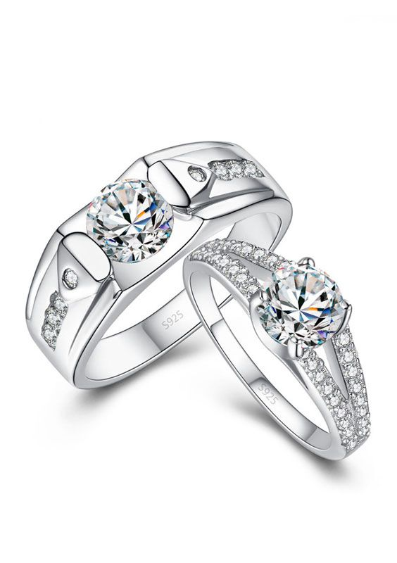 S Engagement Rings Set With Cubic Zirconia Diamond Matching Wedding For Women And