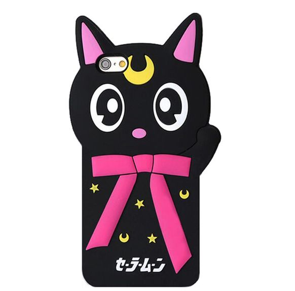 3D lovely cartoon animals cute pet joy doll bow star moon luna cat phone Cases For iPhone 5 6 S SE 7 Plus soft silicone case cover skin