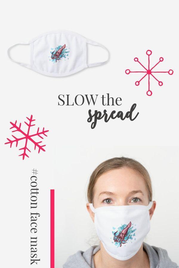 Giant Squid Splash Illustration White Cotton Face Mask Zazzle Com Mask Face Mask Face
