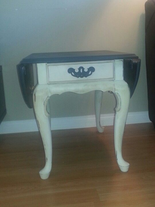 Queen Anne Drop Leaf Side Table Finished In Annie Sloans Old White And  Graphite Chalk Paint