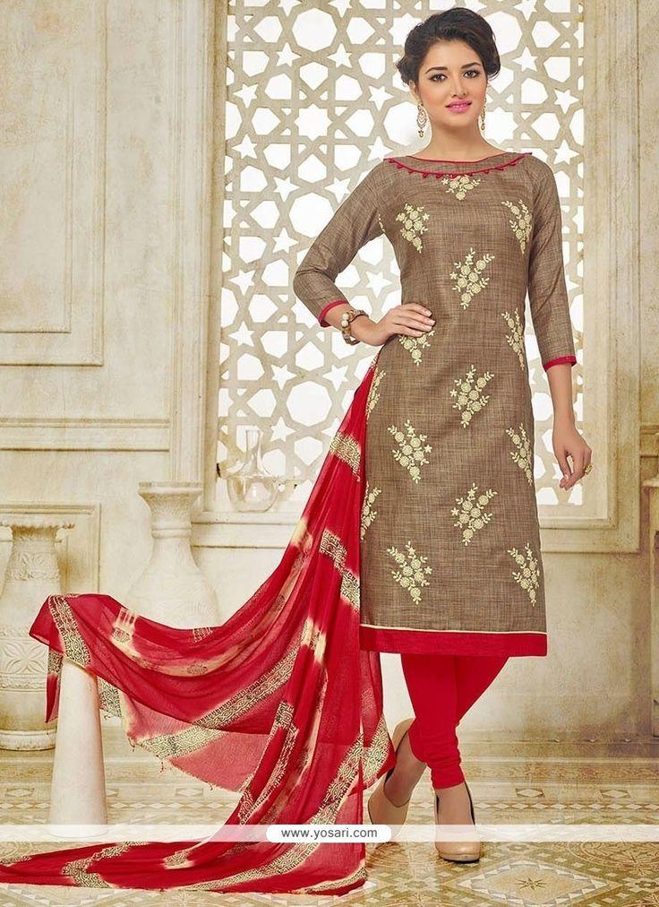 Congenial Brown Embroidered Work Churidar Suit Model: YOS8487