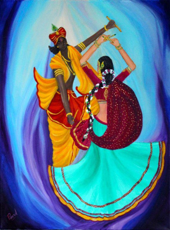 Transcendental Dancing  Radha Krishna by parulspaintings on Etsy