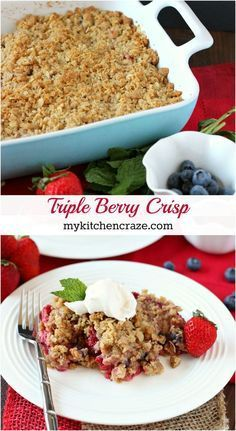 Triple Berry Crisp ~ mykitchencraze.com ~ Warm mixed berries topped with crispy oats makes this Triple Berry Crisp a delicious fruit dessert!