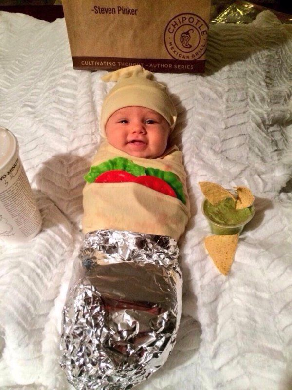 Some great kids costumes here - Baby Shwarma is my favorite. (The garnishes are wrong for Shwarma, but it looks hummusy and Baby Wrap Sandwich isn't funny.)