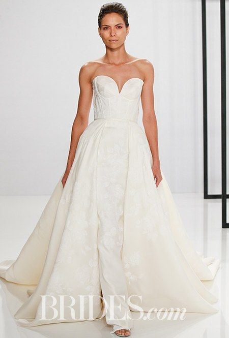 Style 184, silk gazar strapless wedding dress with lace print, Mark Zunino for Kleinfeld