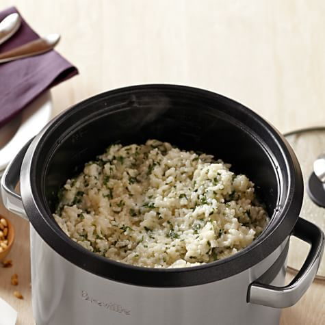 """""""Stir-Less"""" Spinach Risotto with Pine Nuts"""