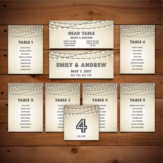 Wedding Seating Chart Bundle - Printable Templates - White & Dark Grey - Instant Download - Editable MS Word Doc - String Lights Collection