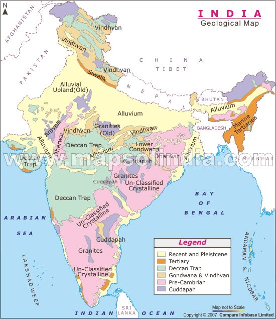 Geological map of India