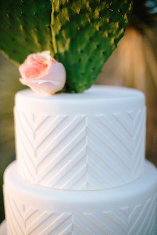 Cactus cake topper | M. Felt Photography | see more on: http://burnettsboards.com/2015/11/mid-century-modern-southwestern-wedding/