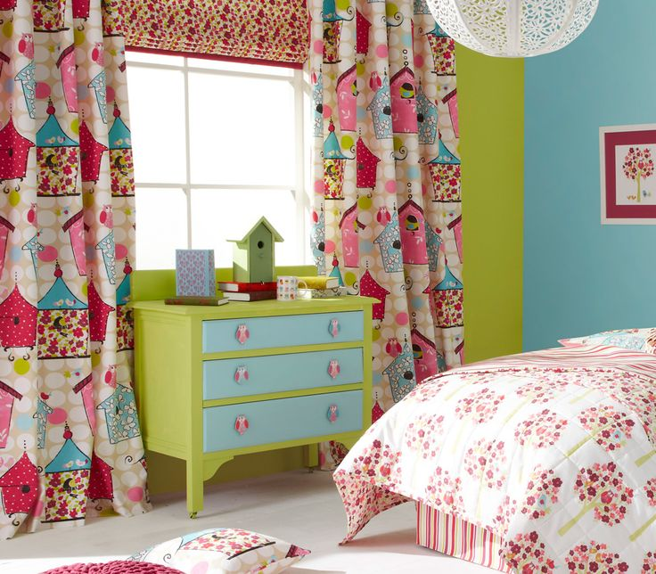 iLiv Birdhouse Curtains  The birdhouse curtains are a vibrant mix of funky birds and their brightly coloured birdhouses. The Birdhouse fabric is available in two beautiful colour palettes, Brights and Pink!