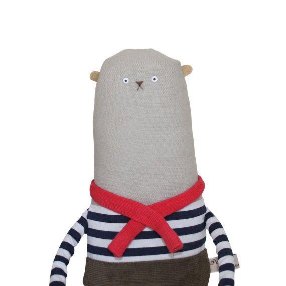 Bear Art Doll Plush Bear with Navy & White Stripe Breton by poosac, £40.00