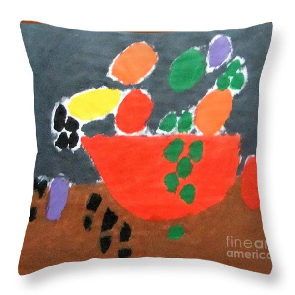 Throw Pillow featuring the painting Bowl Of Fruit 2014 by Patrick Francis