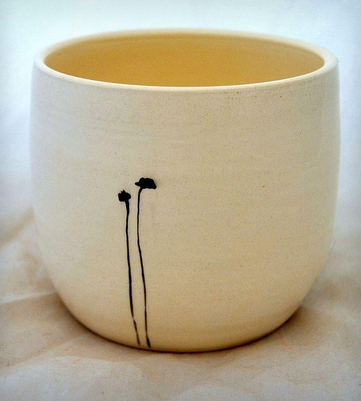 White Ceramic Vase with Black Poppies