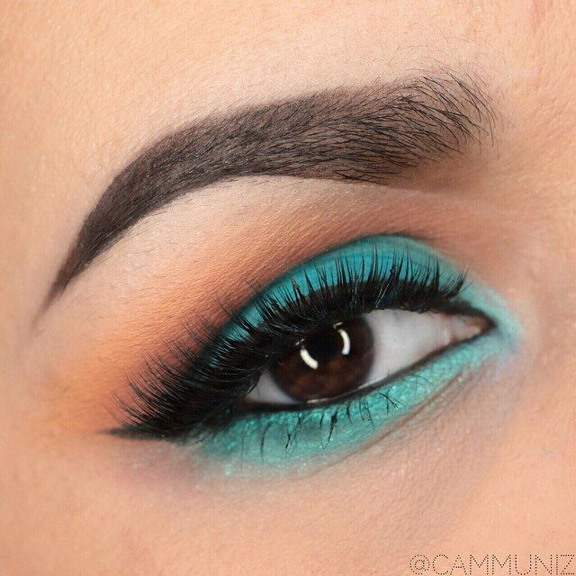 Fun, vibrant 'Let's go to the pool!' look by Cammuniz using Makeup Geek eyeshadows Chickadee, Cocoa Bear, Peach Smoothie, Poolside, and Vanilla Bean!