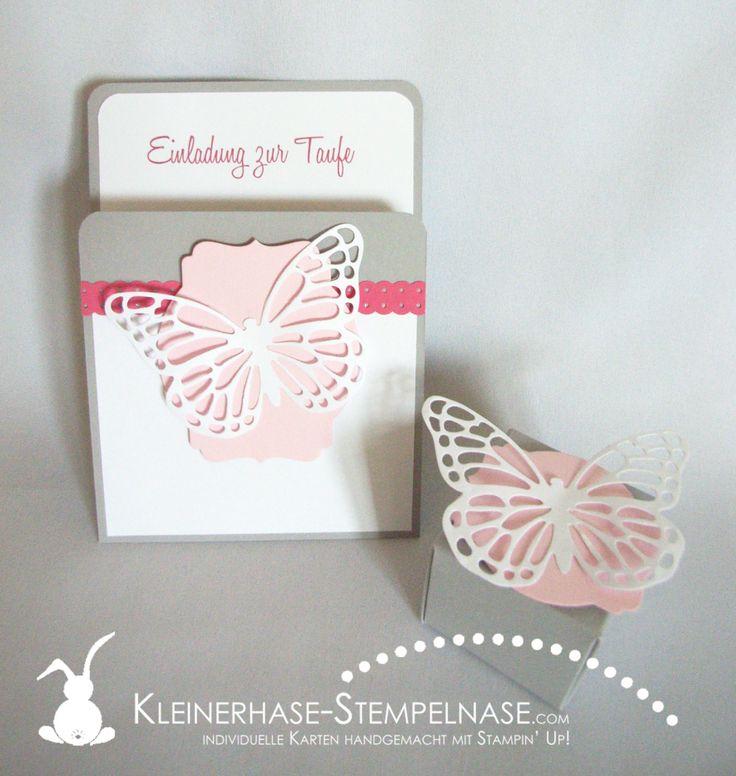 Stampin Up Einladung Taufe Butterfly Schmetterling 01