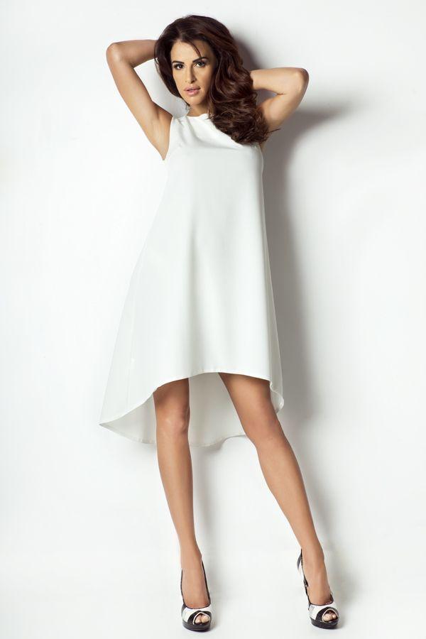 IVON Asymetryczna zwiewna sukienka model P2 ivon-sklep.pl  #dress #sukienka #ecru #fashion #moda