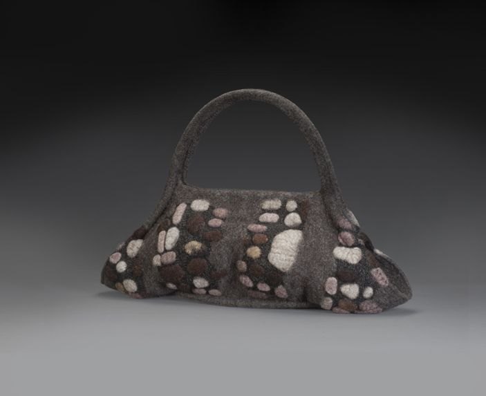 Hammock Handbag, icelandic wool, alpaca and silk fibers, cotton and waxed linen thread, plastic tubing, magnets; wet felting techniques, free-motion machine embroidered, hand stitched photo credit: Mary Vogel sold