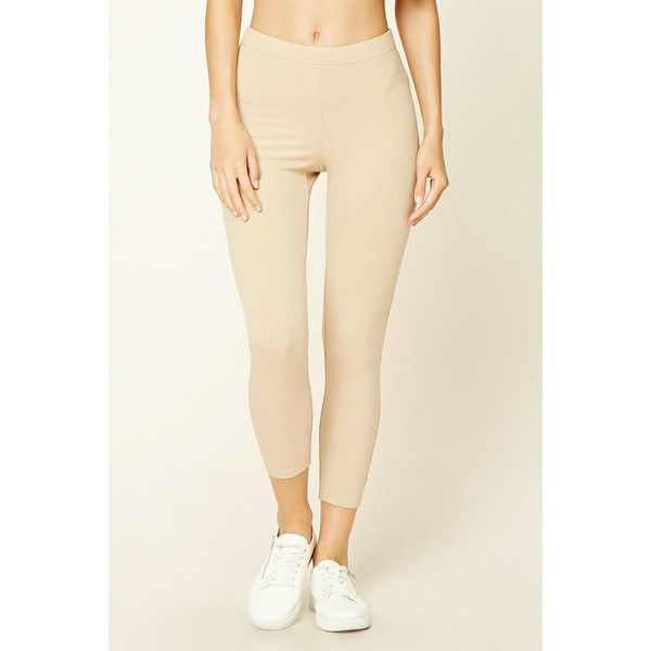 Forever21 Ribbed Knit Leggings (985 RSD) ❤ liked on Polyvore featuring pants, leggings, legging pants, beige leggings, ribbed knit pants, capri leggings and ribbed knit leggings