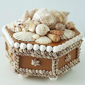 Beach Treasure Box -  Paint sides & lid of the box with acrylic paint; arrange shells on the lid, take a digital photo, then remove all shells. Referring to the photo, glue each shell in place one at a time, largest to smallest. To make feet, glue same-size shells to the bottom of the box at the corners. We used a strong adhesive called Household Goop. Be sure to use Goop in a well-ventilated area, and allow several hours for it to set up.)