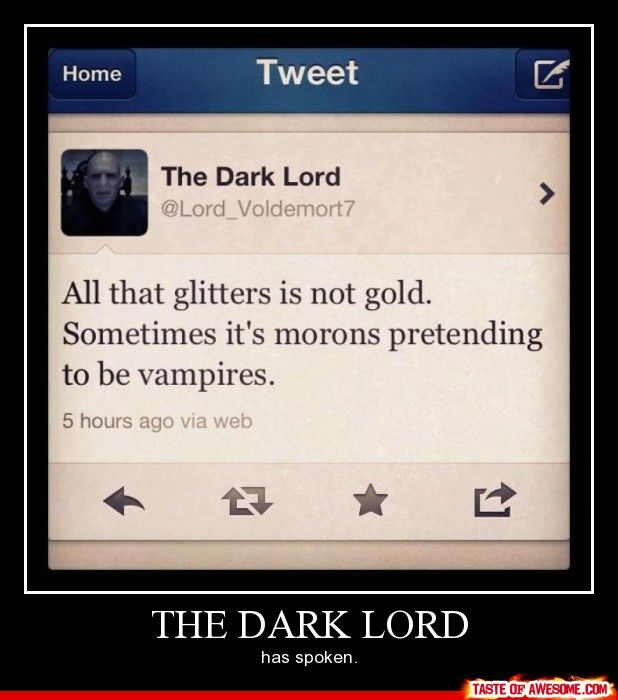 Voldemort tweet~: The Lord, Words Of Wisdom, Dark Lord, Vampires, Funny, Funnies, Hate Twilight, Spoken, Harry Potter Humor
