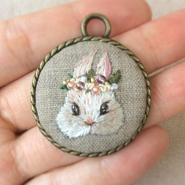 Embroidery rabbit and flowers