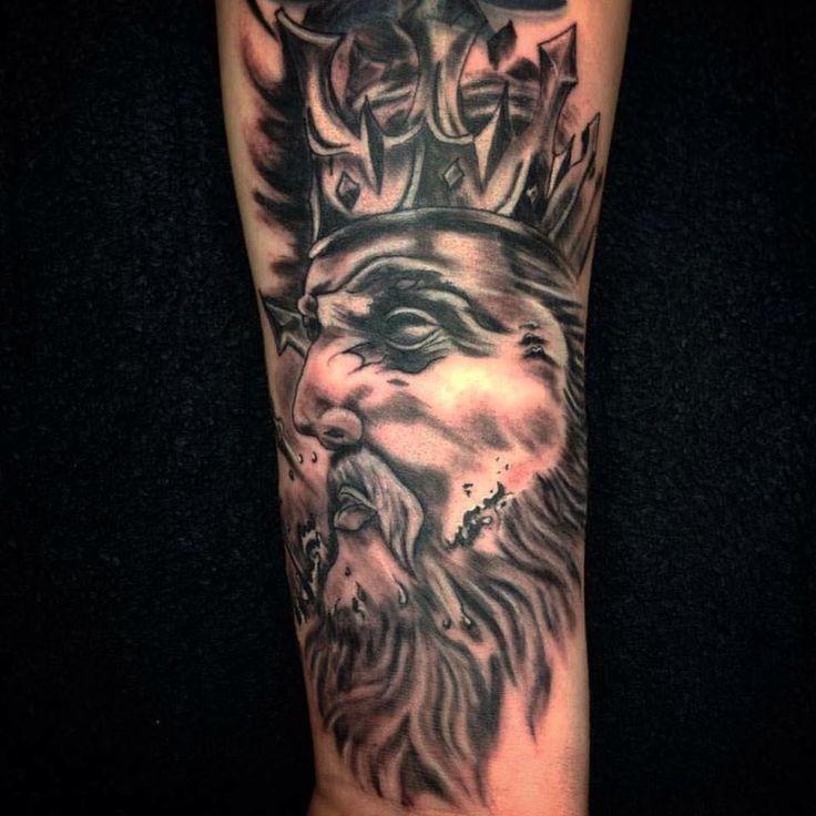 Poseidon Tattoo by Madlen Black&Grey
