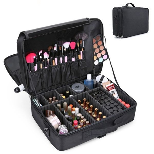 Female Oxford Waterproof Upgraded Version Cosmetic Case Beauty Brush Organizer Makeup Bag Makeup Bag Organization Professional Makeup Bag Cosmetic Case