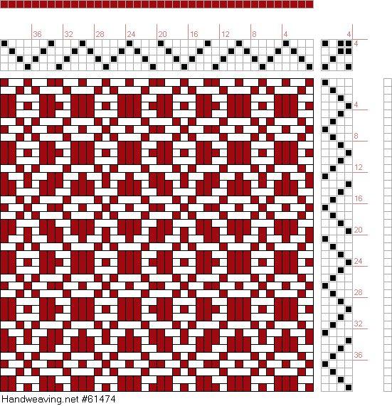 draft image: Threading Draft from Divisional Profile, Tieup: P. Falcot: Traité Encyclopedique et Méthodique de la Fabrication Des Tissus, Draft #44979, 4S, 4T