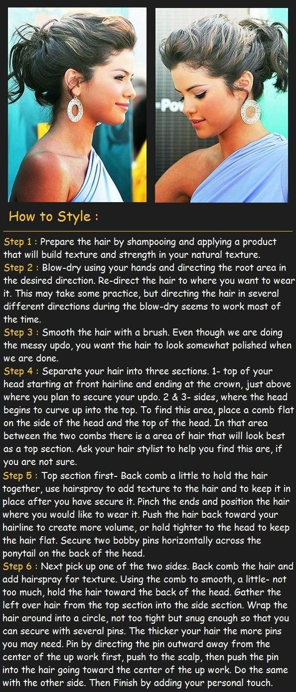 Easy Way to Make Messy Updo Hairstyle | hairstyles tutorial just saying I don't personably like Selena's Gomez but she's in this pic so... Yeah...