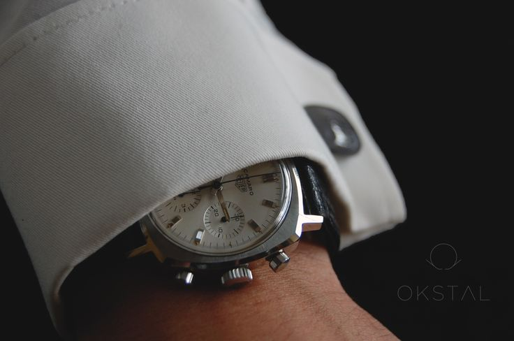 Heuer Camaro with OKSTAL shirt equipped with self holding and assymmetrized french style watchcuff