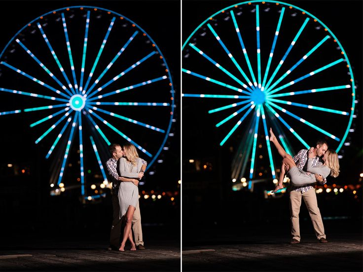 Seattle engagement photography, Seattle Great Wheel, ferris wheel, night, lights, romantic