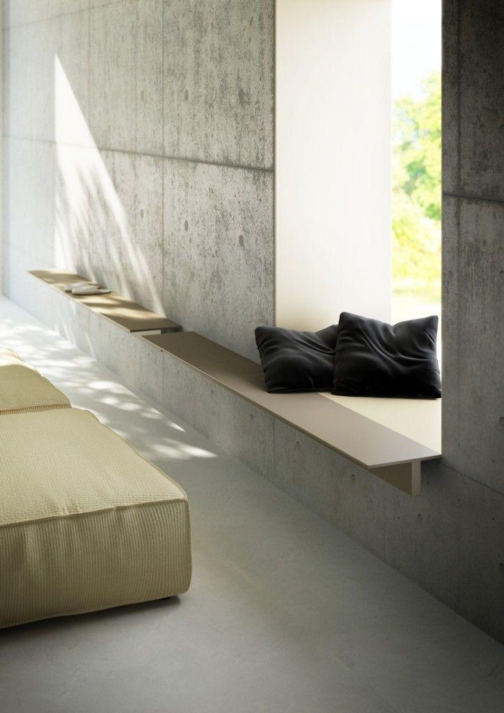 A long shelf as a window seat