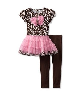 65% OFF Rare Editions Girl's 2-6X Tutu Legging Set (Brown/Pink)
