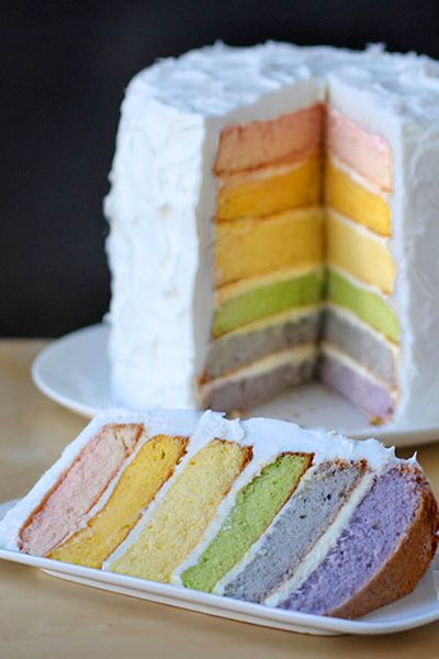Rainbow Layer Cake with Natural Food Coloring | Would be even better if you didn't use a box. Make your own cake.