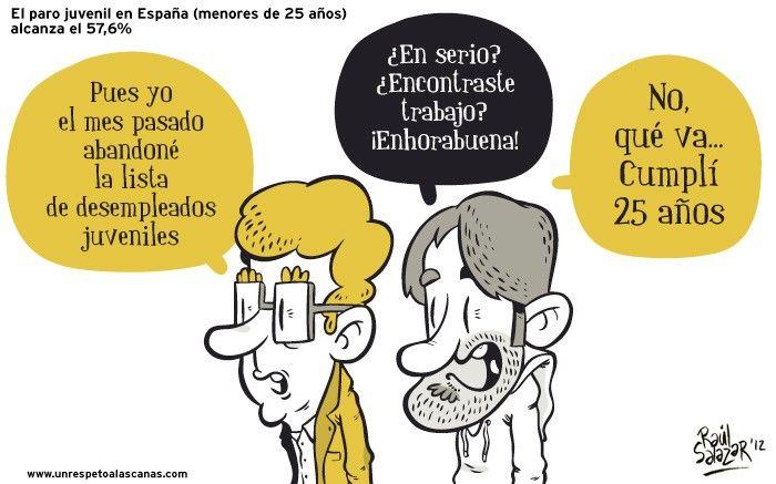 Paro juvenil en España   El paro juvenil en España (menores de 25 años) alcanza el 57.6%.  Gracias a http://www.risasinmas.com/   Si quieres leer la noticia completa visita: http://www.estoy-aburrido.com/paro-juvenil-en-espana/