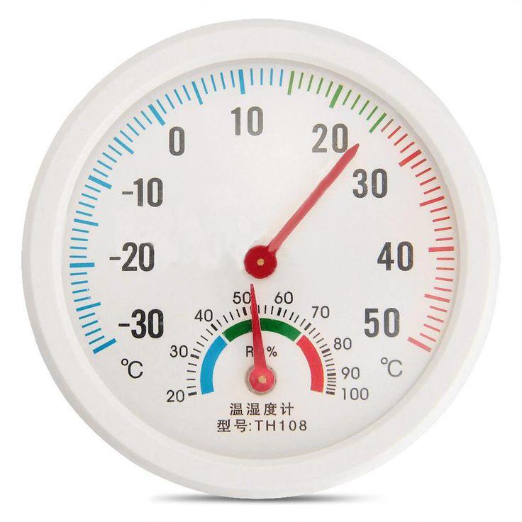 Mini Putaran berbentuk Jam Indoor Luar Kelembaban Hygrometer Thermometer Meter Suhu Gauge
