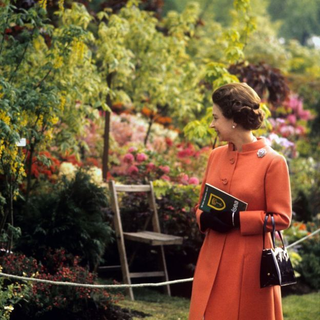 Queen Elizabeth II during her visit to the Chelsea Flower Show in London