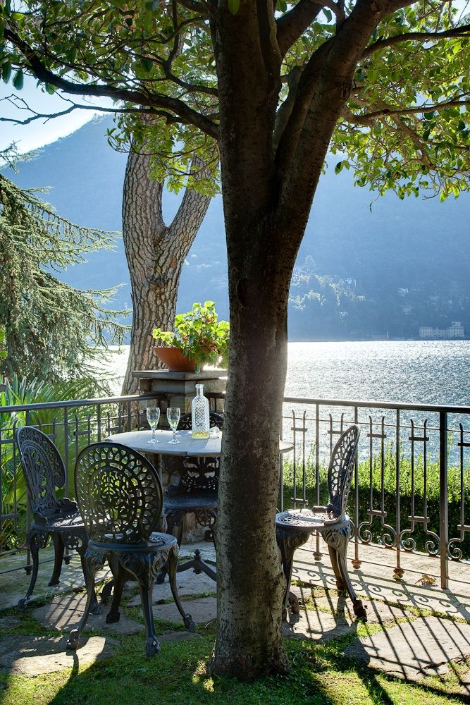 Villa on Lake Como, Italy ~ Share a bottle of chilled Pinot Grigio