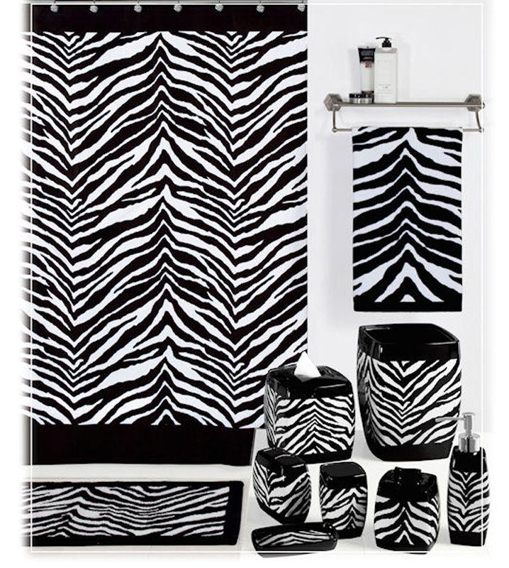 accesorios de baño / complementos de baño: #complementos #baño en estampado CEBRA, #decoración #baños, #accesorios #baño #baños #étnicos