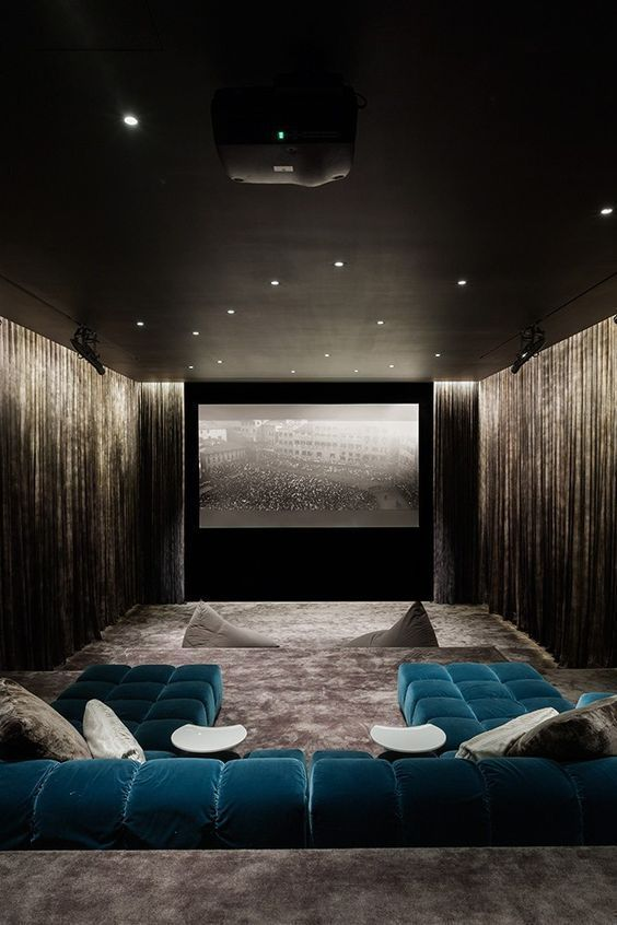 DIY Home Theater Decorations Ideas Basement Rooms Red Seating Small Speakers Luxury Couch Design Cozy
