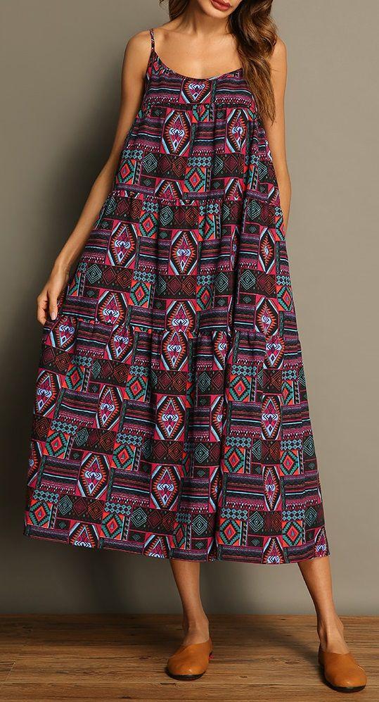 49% OFF! US$30.99 Women Bohemian Printed Spaghetti Strap Vintage Maxi Dresses. SHOP NOW!