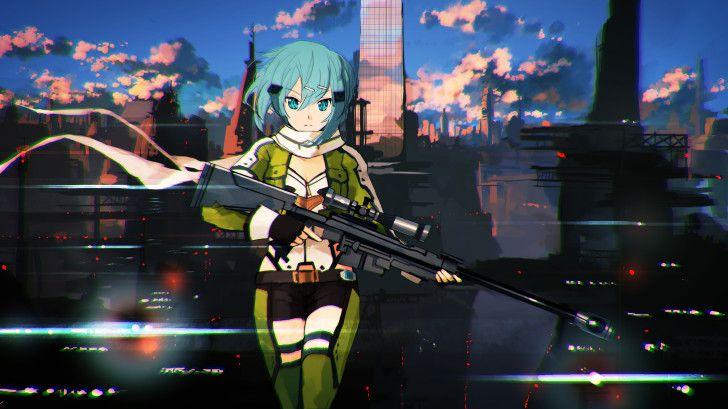 Sinon Sniper Rifle Gun Gale Online 2 Anime Girl 2560×1440