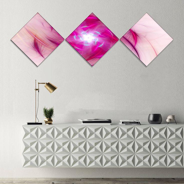 Designart 'Purple Fractal Nuclear Reaction' Floral Canvas Art Print - 3 Diamond Canvas Prints