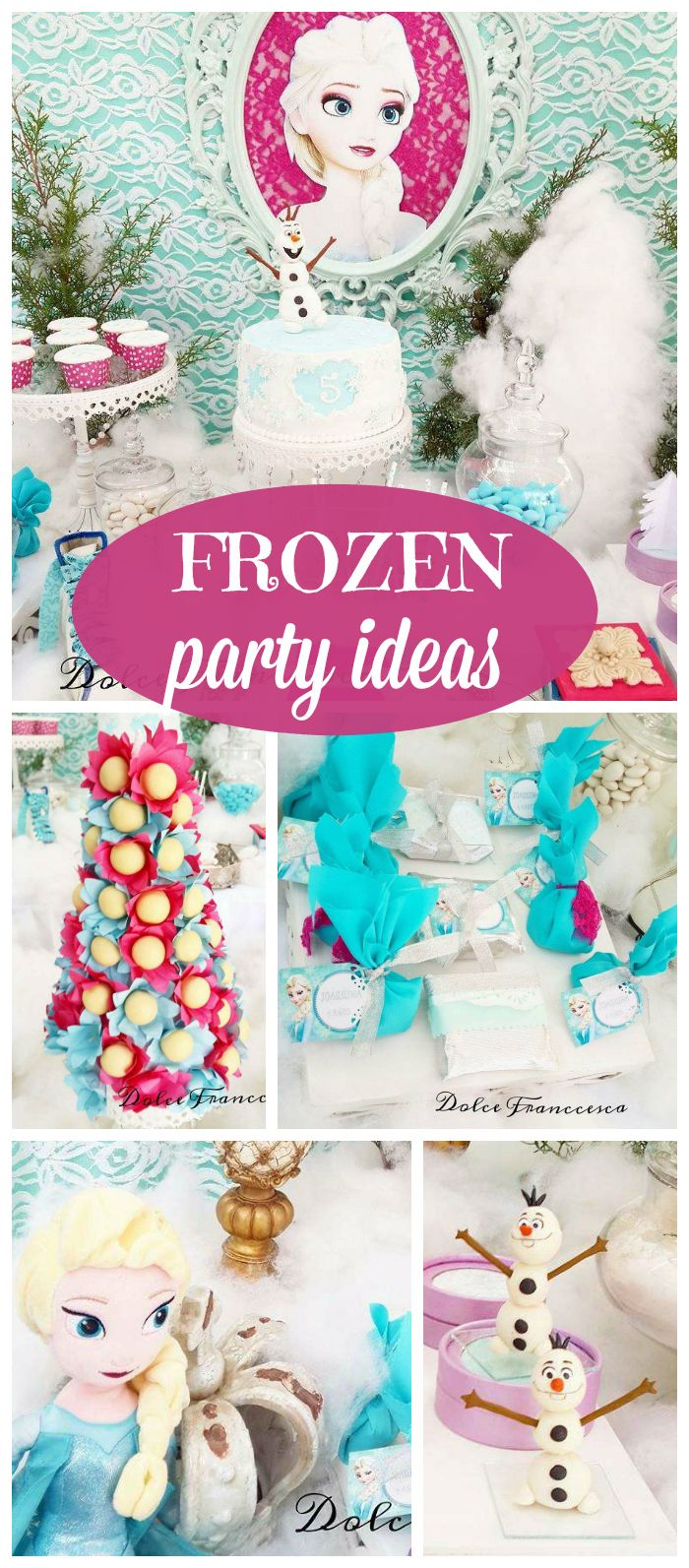 A Frozen girl birthday party with gorgeous colors, decorations and cake!  See more party planning ideas at CatchMyParty.com!
